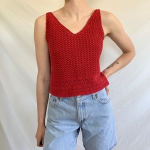 Vintage 90s Red Knit Spaghetti Strap Crop Tank Top